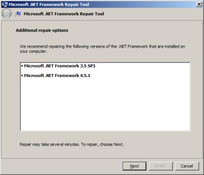 Microsoft .NET Framework reparieren