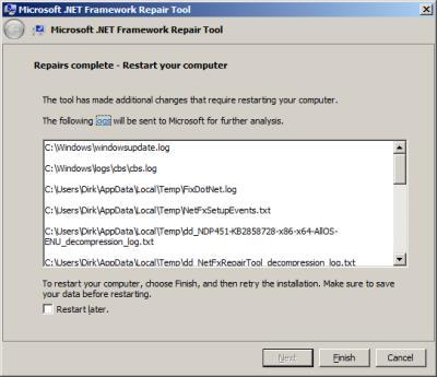 Microsoft .NET Framework Reparatur abgeschlossen