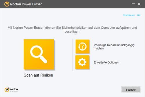 Norton Power Eraser Startbildschirm