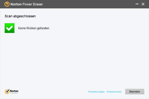 Norton Power Eraser Antivirus-Scan fertig
