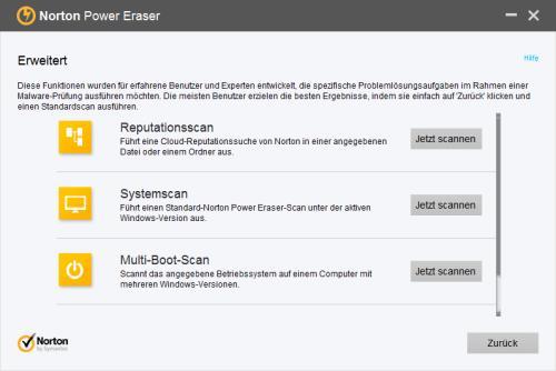Norton Power Eraser erweiterte Optionen