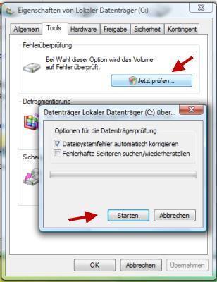 Fehler auf der Festplatte finden und beheben