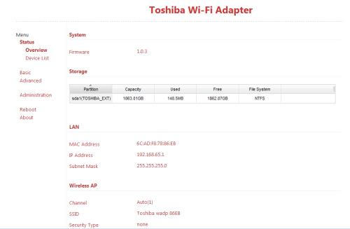 Toshiba Store.E Wireless Adapter Konfiguration