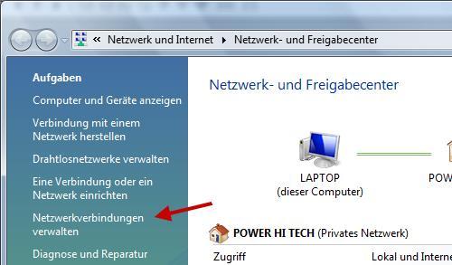 Netzwerk- und Freigabecenter Screenshot