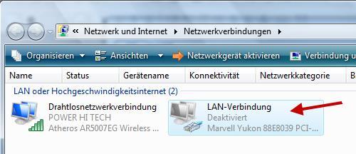 Netzwerkadapter deaktivieren