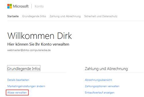 Microsoft-Konto Aliase verwalten