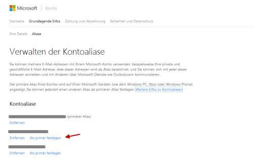 Alias anlegen im Microsoft Konto