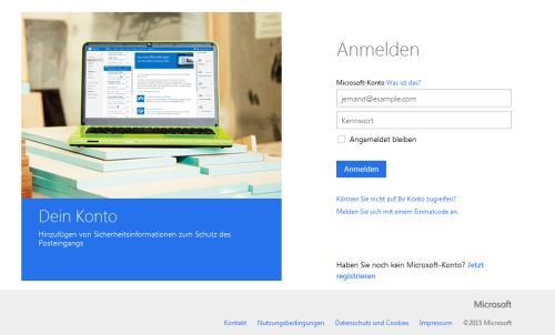 in Microsoft-Konto einloggen