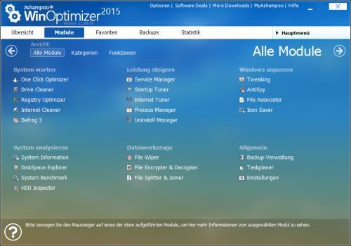 Ashampoo WinOptimizer 2015 Übersicht Module