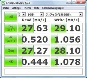 CrystalDiskMark für die Toshiba Canvio Basics