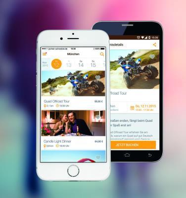 Darstellung der Jochen Schweizer App auf Smartphones