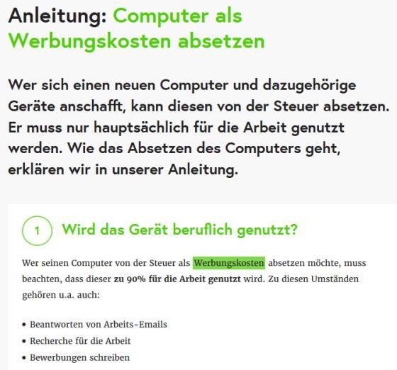 Anleitung Computer von der Steuer absetzen