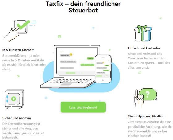 Taxfix: Chatbot kostenfrei und ohne Registrierung