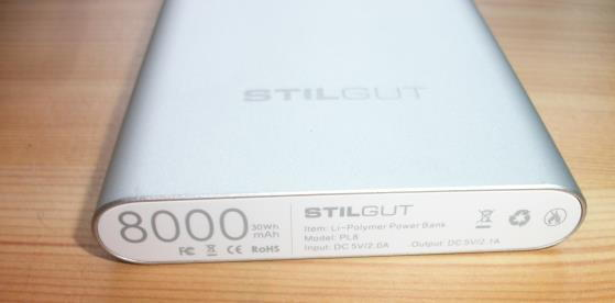 StilGut Powerbank 8.000mAh UltraSlim Detailaufnahme