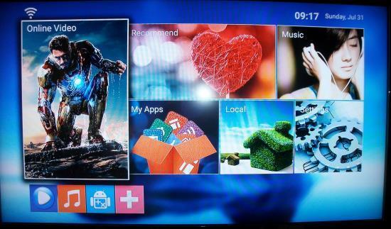 MXQ Pro+ TV Box Oberfläche