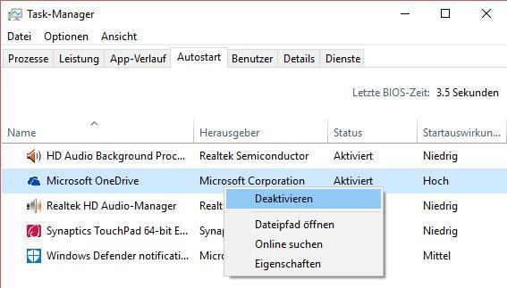 Autostart von Programmen bei Windows 10 deaktivieren