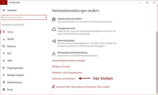 Netzwerkverbindung reparieren und zurücksetzen bei Windows 10
