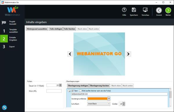 WebAnimator Go Inhalte eingeben