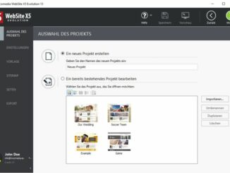 WebSite X5 Evolution 13 Projekt auswählen