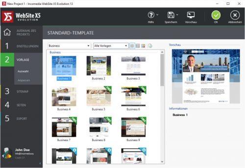 WebSite X5 Evolution 13 Homepage Vorlage auswählen