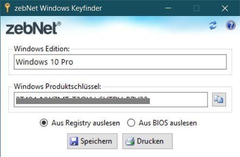 Windows 10 Key auslesen mit dem zebNet Windows Keyfinder