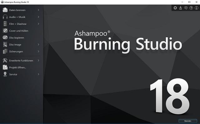 Ashampoo Burning Studio 18 Willkommens-Bildschirm