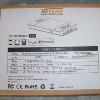 Testbericht: XT-20000QC2 - Powerbank für Notebook Tablet Smartphone