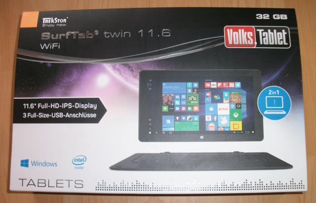 TrekStor SurfTab twin 11.6 WiFi / Volks-Tablet Verpackung