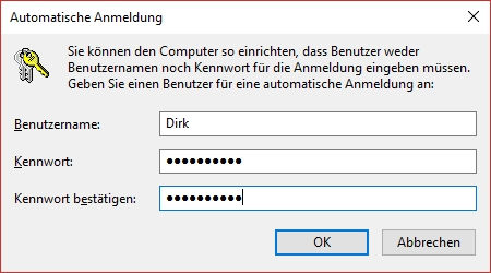 Autologin bei Windows 10 einrichten