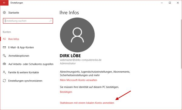 Informationen zum Microsoft-Konto