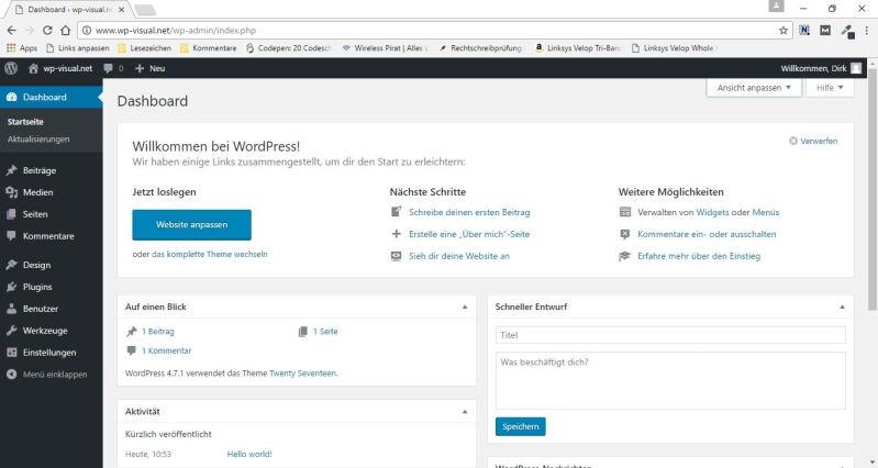 Dashboard von WordPress so wie es normal aussieht
