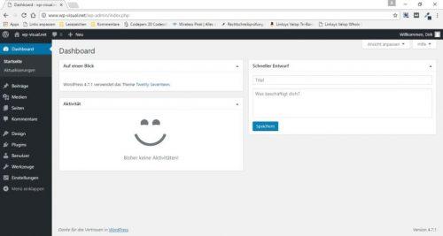 Dashboard von WordPress nach dem Aufräumen