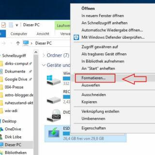 Interne und externe Festplatte formatieren unter Windows 10