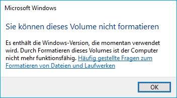 Fehlermeldung: Festplatte formatieren nicht möglich