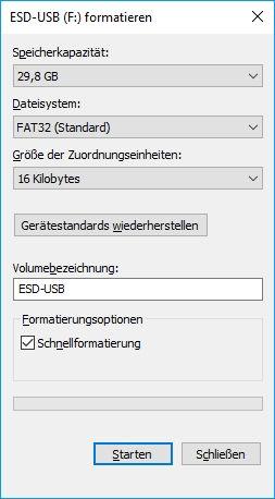Einstellmöglichkeiten beim Festplatte formatieren