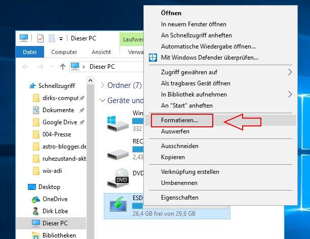 Festplatte formatieren bei Windows 10