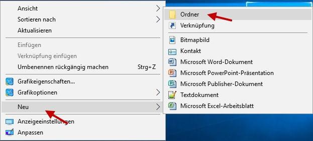 GodMode aktivieren - neuen Ordner anlegen bei Windows 10