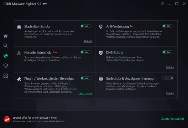 IObit Malware Fighter 5 Einstellungen Browser-Schutz