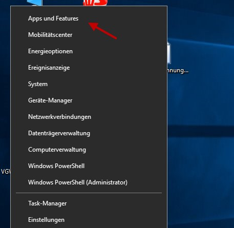 Windows 10 Apps und Features öffnen