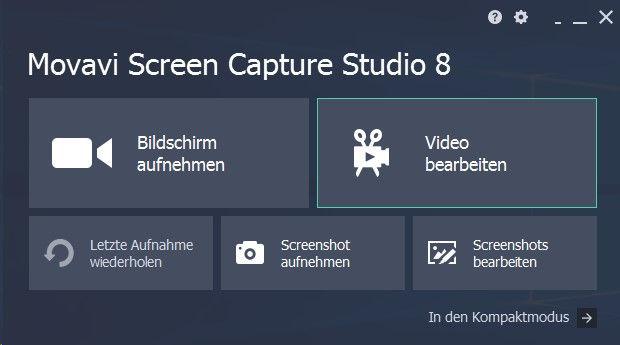 Movavi Screen Capture Studio 8 Startbildschirm