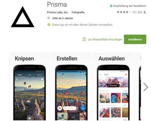 Prisma Fotobearbeitung Android App