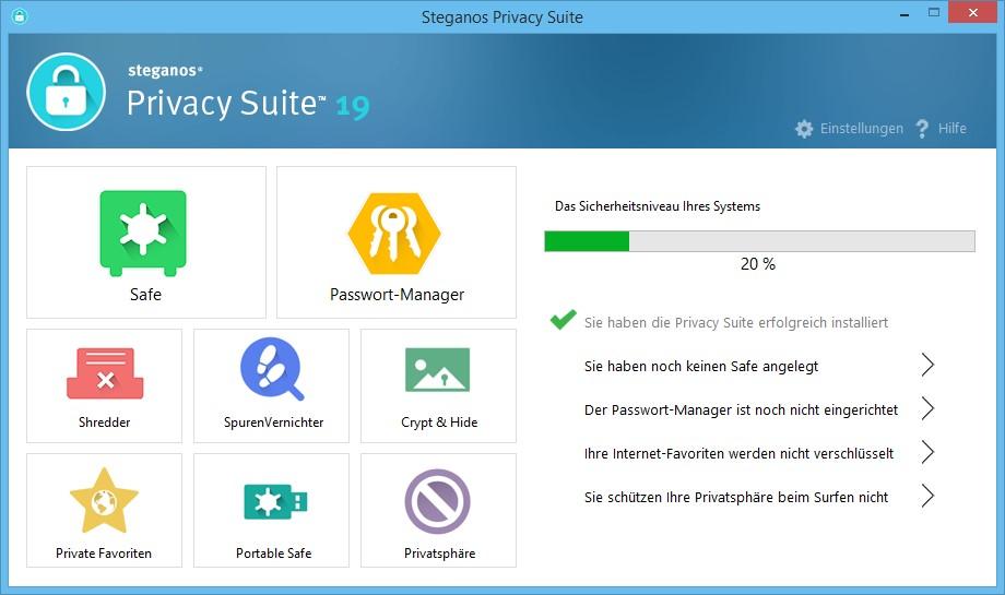 Steganos Privacy Suite 19 Startbildschirm