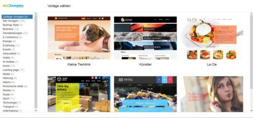 Design auswählen beim Homepage-Baukasten von alldomains.hosting