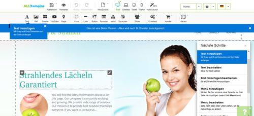 Editor beim Homepage-Baukasten von alldomains.hosting
