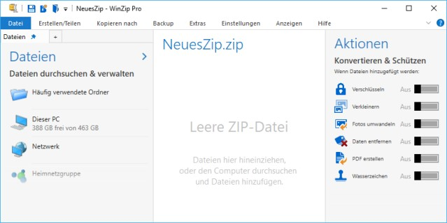 WinZip 22 Pro Startbildschirm