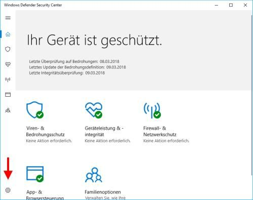 Windows Defender Einstellungen