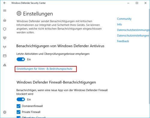 Windows Defender Einstellungen öffnen