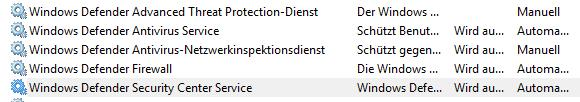 Windows Defender Dienste