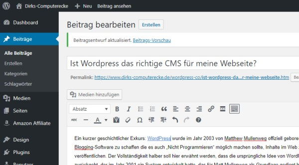 Blick in das WordPress Dashboard