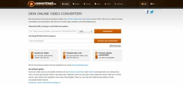YouTube-Videos mit Convert2mp3 herunterladen